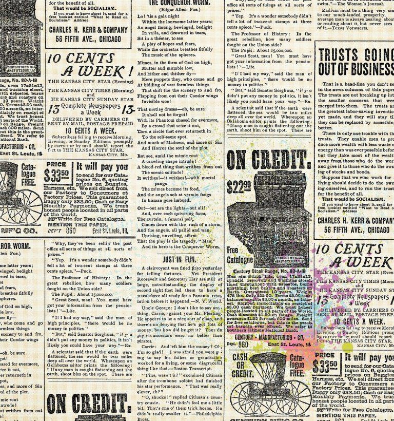 vintage newspaper, advertising, mid century